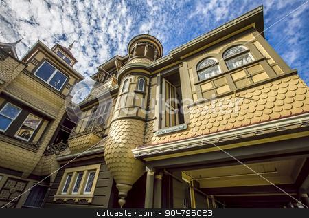 Famous Door to Nowhere at the Winchester Mystery House stock photo, SAN JOSE; SANTA CLARA COUNTY; CALIFORNIA; USA - SEPTEMBER 25; The door to nowhere, a famous oddity at the Winchester Mystery House; on September 25; 2015 in San Jose; California; USA. by Scott Griessel