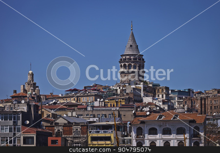 Colorful Instanbul Galata Neighborhood and Tower stock photo, Colorful Galata Tower and neighborhood in European Istanbul  by Scott Griessel