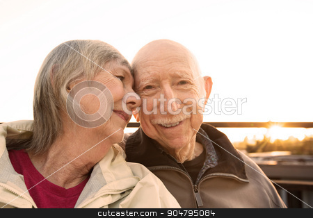 WIfe Adoring Her Husband stock photo, Happy woman adoring her husband sitting outdoors by Scott Griessel