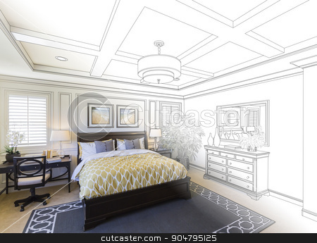 Custom Bedroom Drawing Gradation Into Photograph. stock photo, Beautiful Custom Bedroom Drawing Gradation Into Photograph. by Andy Dean