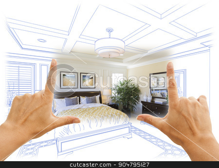 Hands Framing Custom Bedroom Drawing Photograph Combination stock photo, Beautiful Hands Framing Custom Bedroom Drawing Photograph Combination. by Andy Dean