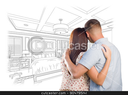 Young Military Couple Looking Over Custom Bedroom Design Drawing stock photo, Curious Young Military Couple Looking Over Custom Bedroom Design Drawing. by Andy Dean