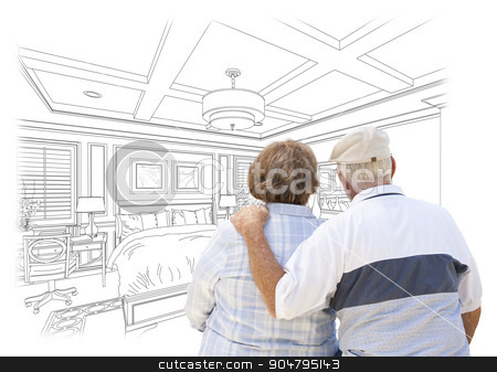 Senior Couple Looking Over Custom Bedroom Design Drawing stock photo, Curious Senior Couple Looking Over Custom Bedroom Design Drawing. by Andy Dean