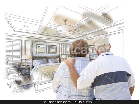 Senior Couple Looking Over Custom Bedroom Design Drawing Photo C stock photo, Curious Senior Couple Looking Over Custom Bedroom Design Drawing Photo Combination. by Andy Dean