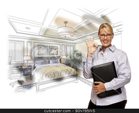 Woman with Okay Sign Over Custom Bedroom Drawing Photo Combinati stock photo, Woman with Okay Sign Over Beautiful Custom Bedroom Drawing Photo Combination. by Andy Dean