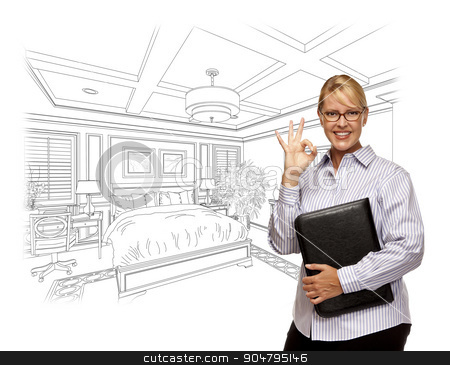 Woman with Okay Sign Over Bedroom Drawing Photo Combination stock photo, Woman with Okay Sign Over Beautiful Custom Bedroom Drawing Photo Combination. by Andy Dean