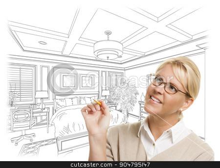 Woman With Pencil Over Custom Bedroom Design Drawing stock photo, Creative Woman With Pencil Over Custom Bedroom Design Drawing on White. by Andy Dean