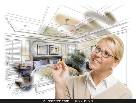Woman With Pencil Over Bedroom Design Drawing and Photo Combinat stock photo, Creative Woman With Pencil Over Custom Bedroom Design Drawing and Photo Combination. by Andy Dean