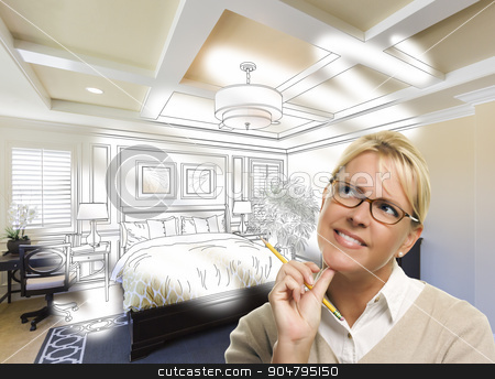 Daydreaming Woman With Pencil Over Custom Bedroom Photo Thought  stock photo, Daydreaming Creative Woman With Pencil Over Custom Bedroom Design Drawing and Photo Combination. by Andy Dean