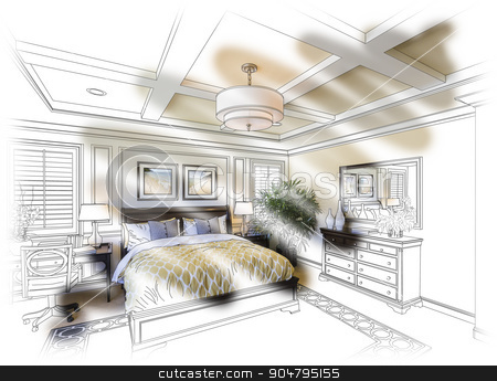Custom Bedroom Design Drawing and Photo Combination stock photo, Beautiful Custom Bedroom Design Drawing and Photo Combination. by Andy Dean