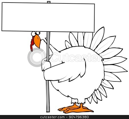 Turkey holding a blank sign stock photo, Illustration depicting a white turkey peering from under a blank sign that it's holding. by Dennis Cox
