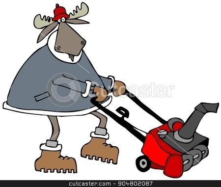 Bull moose using a snowblower stock photo, Illustration depicting a bull moose using a gas powered snowblower. by Dennis Cox