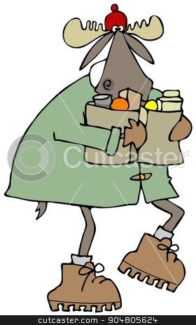 Moose carrying bags of groceries stock photo, Illustration depicting a bull moose in a coat and stocking cap carrying 2 bags of groceries. by Dennis Cox