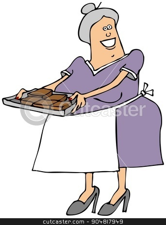 Old lady with a tray of brownies stock photo, Illustration depicting an old woman wearing an apron, holding a tray of brownies. by Dennis Cox