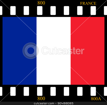France Flag Film stock photo, France Flag with the color blue white red. by Henrik Lehnerer