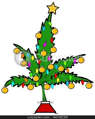 Christmas pot leaf tree stock photo, Illustration depicting a marijuana leaf decorated with Christmas lights and ornaments. by Dennis Cox