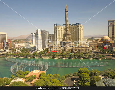 Las Vegas stock photo, View of the Las Vegas Strips from the Bellagio, including the fountains and paris by Lucy Clark