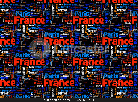 France Paris Terror stock photo, Wordcloud with the words Paris France Terror on black background. by Henrik Lehnerer