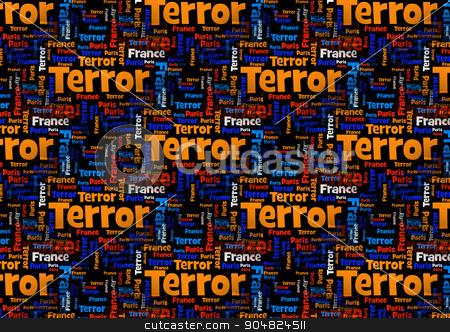 Terror France Paris stock photo, Wordcloud with the words Paris France Terror on black background. by Henrik Lehnerer