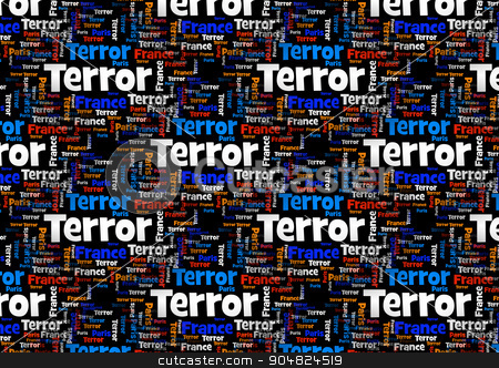 Terror France Paris stock photo, Wordcloud with the words Paris France Terror on black background. by Henrik Lehnerer