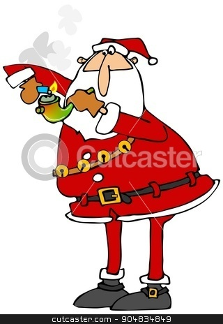 Santa lighting a marijuana pipe stock photo, Illustration depicting Santa Claus lighting a glass marijuana pipe. by Dennis Cox