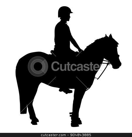 Mounted Games Pony stock vector clipart, A black silhouette of a pony and rider that participate in mounted games and other equestrian sports by Maria Bell