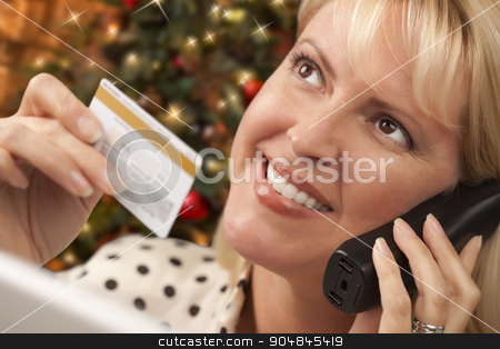 Phone Holding Woman Credit Card In Front of Christmas Tree stock photo, Beautiful Woman on the Phone Holding Her Credit Card In Front of Christmas Tree and Laptop Computer. by Andy Dean