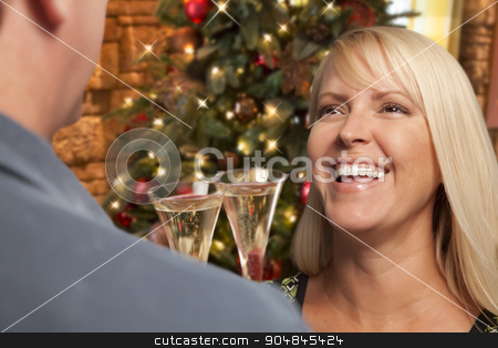 Girl Socializing with Champagne Glass At Christmas Party stock photo, Pretty Girl Socializing with Champagne Glass At Christmas Party. by Andy Dean