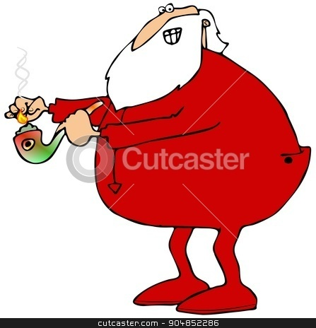 Santa lighting his pot pipe stock photo, Illustration depicting Santa Claus wearing long underwear lighting his glass marijuana pipe. by Dennis Cox