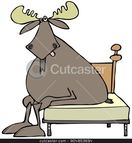 Tired moose sitting on a bed stock photo, Illustration depicting a tired bull moose sitting on a bed. by Dennis Cox