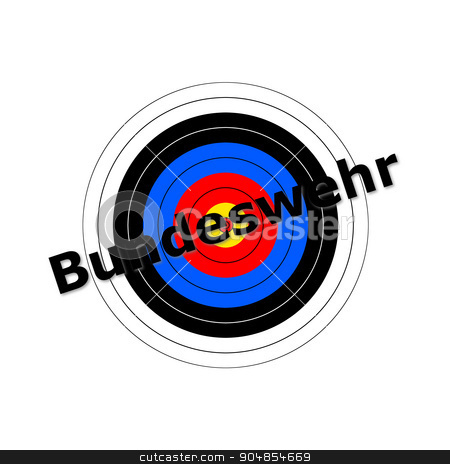 Target Bundeswehr stock photo, Target background with the writing Bundeswehr over it. by Henrik Lehnerer