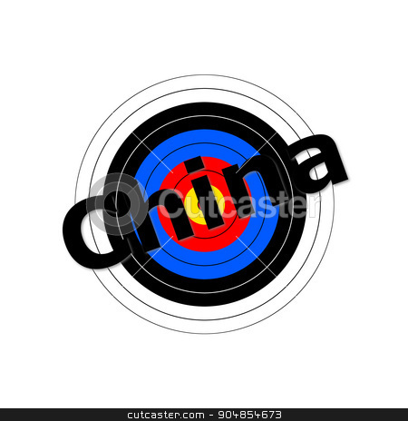 Target China stock photo, Target background with the writing China over it. by Henrik Lehnerer