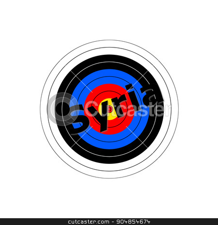 Target Syria stock photo, Target background with the writing Syria over it. by Henrik Lehnerer