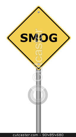 Warning Sign SMOG stock photo, Yellow warning sign with the writing SMOG on whiate background. by Henrik Lehnerer