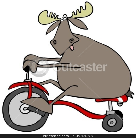 Moose on a tricycle stock photo, Illustration depicting a bull moose riding a red tricycle. by Dennis Cox