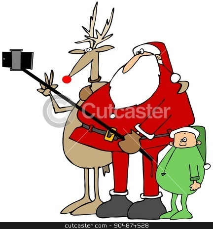 Santa's new selfie stick stock photo, Illustration depicting Santa Claus using a selfy stick to take a photo of himself, Rudolf and an elf. by Dennis Cox