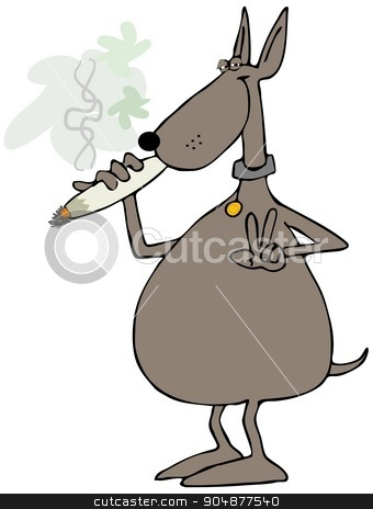 Dog smoking a joint stock photo, Illustration depicting a dog lighting a large marijuana joint. by Dennis Cox