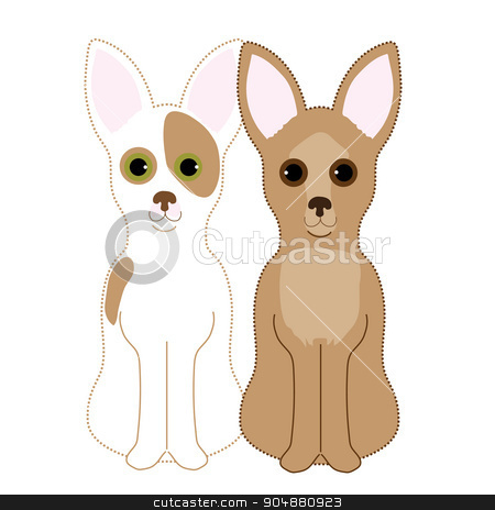 Chihuahuas stock vector clipart, A pair of Chihuahuas sitting next to each other. One is a fawn and the other a red and white by Maria Bell