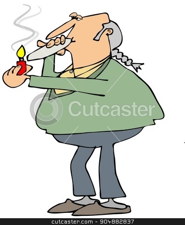Old hippie smoking a joint stock photo, Illustration depicting an old man with a ponytail lighting up a marijuana joint. by Dennis Cox