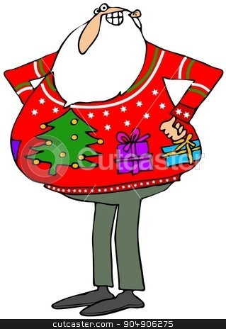 Santa'a ugly Christmas sweater stock photo, Illustration depicting Santa Claus wearing an ugly Christmas sweater with a tree and packages on it. by Dennis Cox