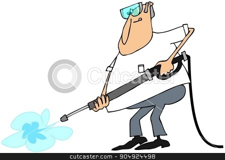 Man using a pressure washer wand stock photo, Illustration depicting a man wearing goggles and using a pressure washer wand. by Dennis Cox