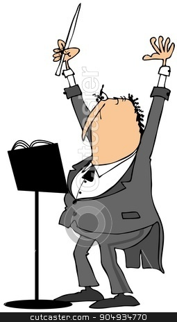 Orchestra conductor stock photo, Illustration depicting an orchestra conductor wearing a suit with tails and raising his baton. by Dennis Cox