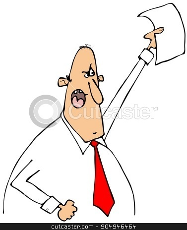 Mad businessman waving a paper stock photo, Illustration depicting an upset businessman waving a paper above his head. by Dennis Cox