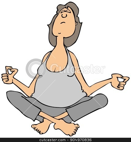 Woman sitting and meditating stock photo, Illustration depicting a woman wearing sweats sitting cross-legged and closing her eyes in meditation. by Dennis Cox