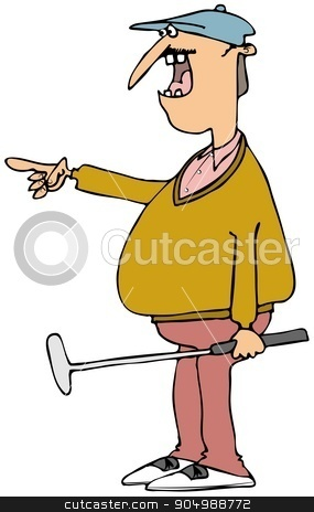 Colorful golfer holding a putter stock photo, Illustration depicting a colorfully dressed golfer holding a putter and pointing to his right. by Dennis Cox
