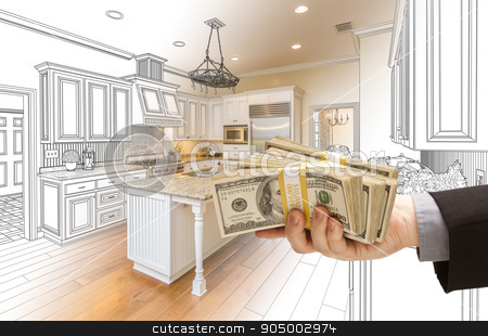 Hand Handing Cash Over Kitchen Design Drawing and Photo Combinat stock photo, Hand Handing Stacks of Money Over Custom Kitchen Design Drawing and Photo Combination. by Andy Dean