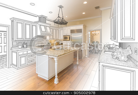 Custom Kitchen Design Drawing and Gradated Photo Combination stock photo, Beautiful Custom Kitchen Design Drawing and Gradated Photo Combination. by Andy Dean