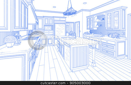 Blue Custom Kitchen Design Drawing on White stock photo, Beautiful Custom Kitchen Design Drawing in Blue on White. by Andy Dean