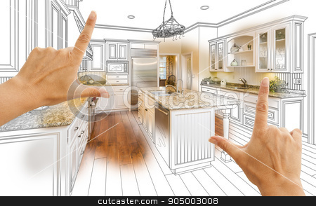 Hands Framing Custom Kitchen Design Drawing and Photo Combinatio stock photo, Female Hands Framing Custom Kitchen Design Drawing and Photo Combination. by Andy Dean