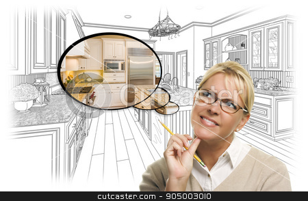 Woman Over Custom Kitchen Drawing and Thought Bubble Photo stock photo, Creative Woman With Pencil Over Custom Kitchen Drawing and Thought Bubble Photo Combination. by Andy Dean